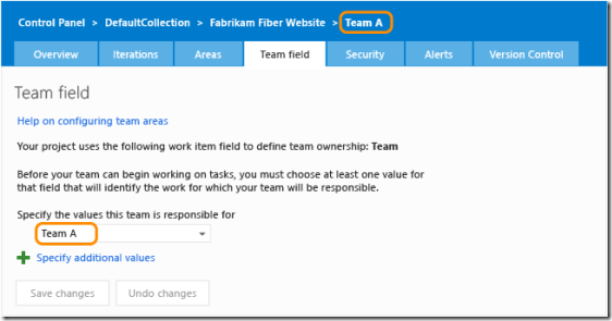 Team field settings page